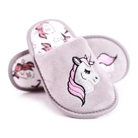Grijze eenhoornpantoffels voor kinderen met eenhoorn roze zilver grijs