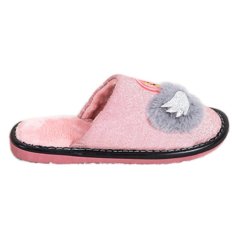 Bona Stijlvolle pantoffels met applicatie roze