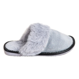 Bona Comfortabele pantoffels met bont grijs