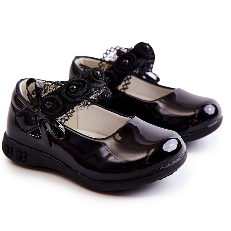 Apawwa Ballerina's voor kinderen met klittenband met kant Zwart Evelyn