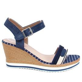 Marineblauwe sandalen met sleehakken A89832 Blauw