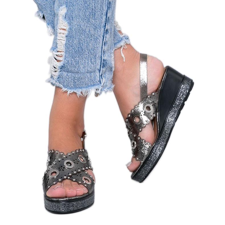 Grijze metallic sandalen met sleehak Mon grijs