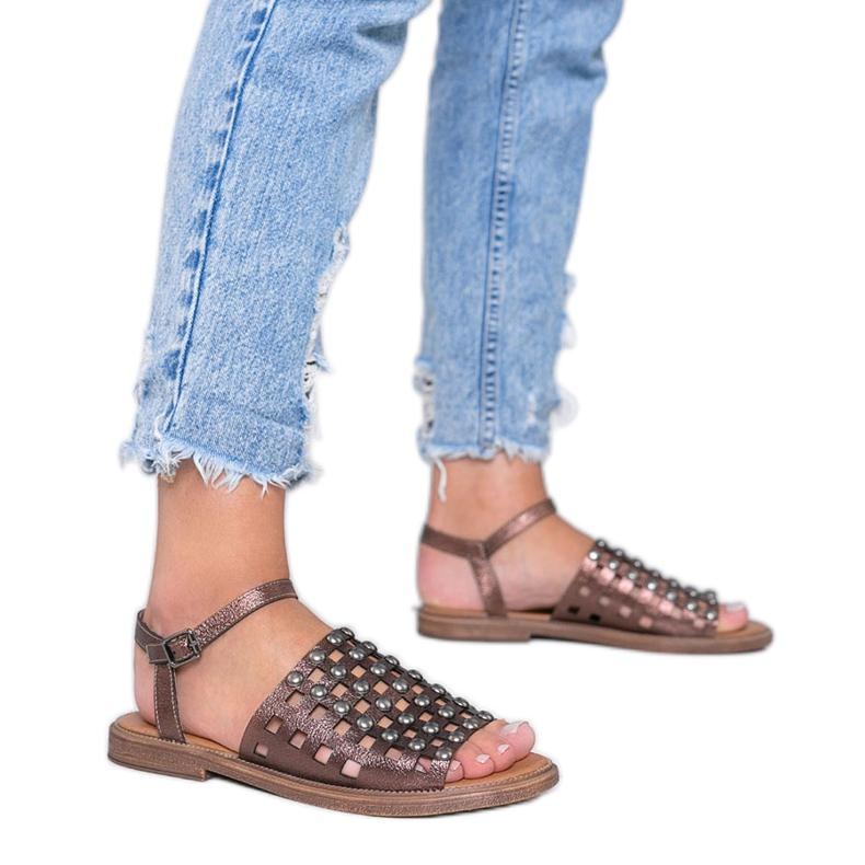 Bruine metallic sandalen met Luxy studs