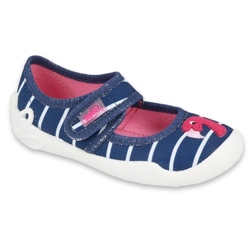Befado kinderschoenen 123X067 marineblauw roze