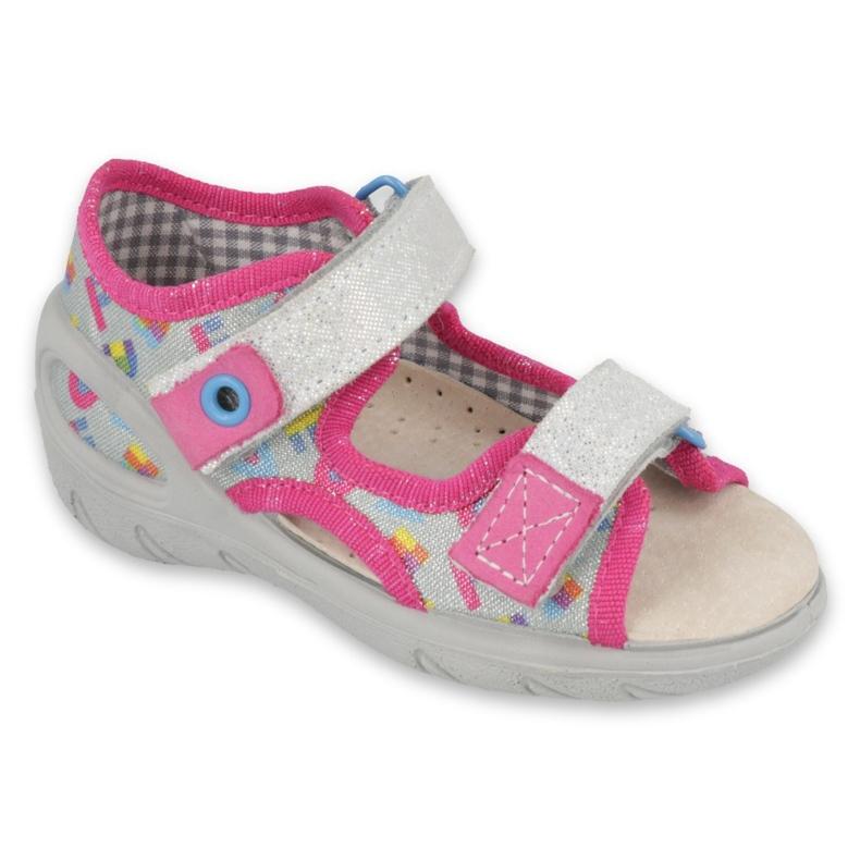 Befado kinderschoenen pu 065X149 roze grijs
