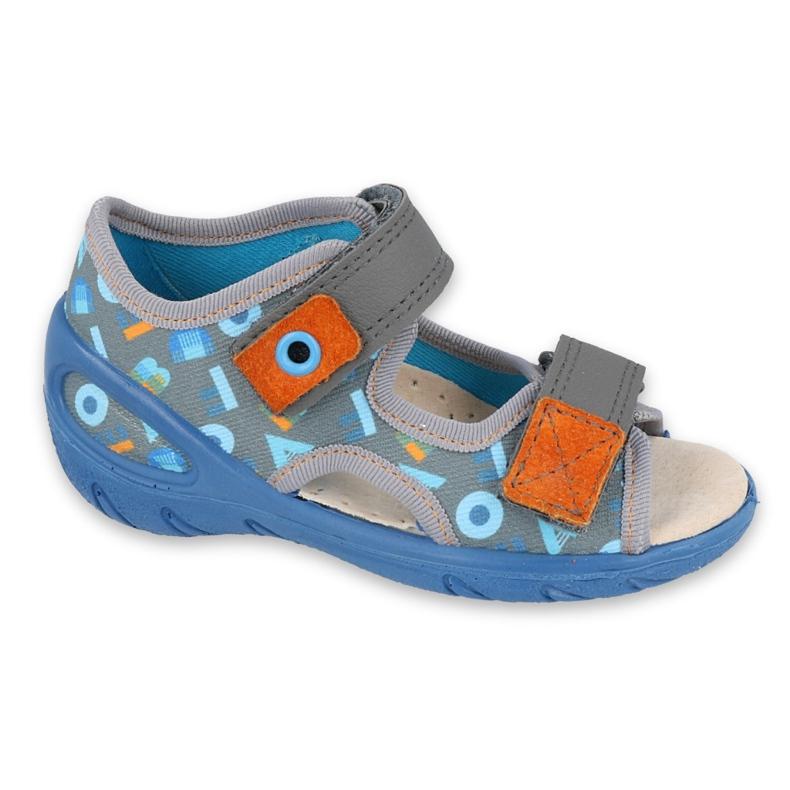Befado kinderschoenen pu 065X160 blauw grijs