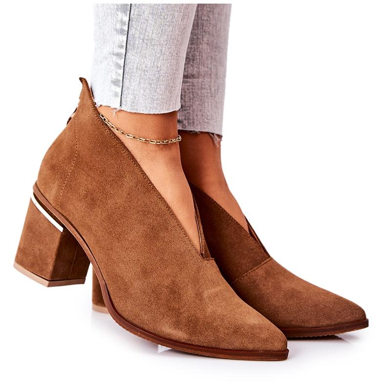 Leren laarzen op hoge hak Laura Messi bruin 2344