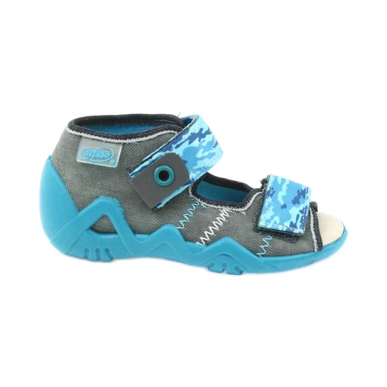Befado kinderschoenen sandalen met een lederen inzetstuk 350P062 blauw grijs