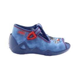 Jongens slippers voetballer Befado 217p088 rood blauw wit