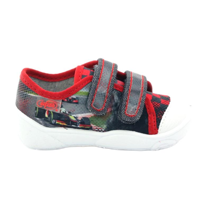 Befado kinderschoenen sneakers slippers 907p093 rood grijs