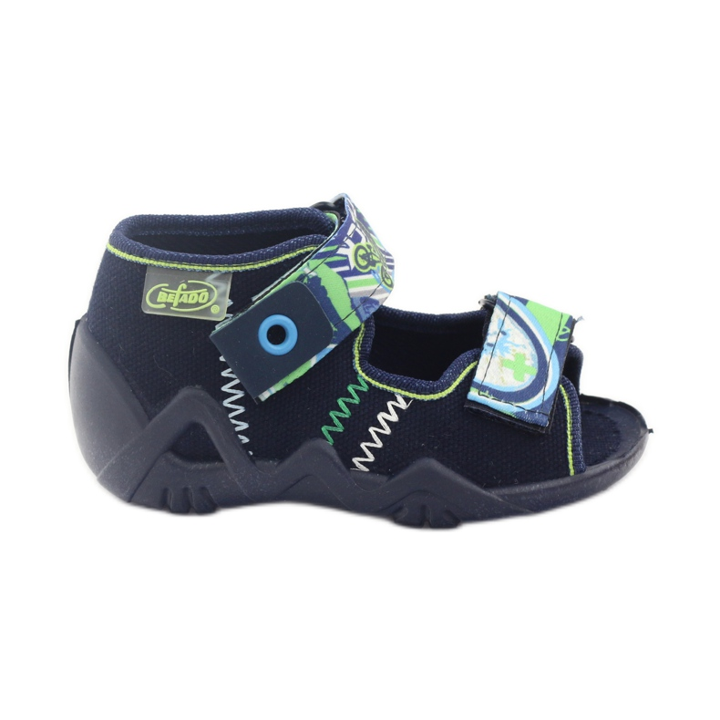 Befado kinderschoenen slippers sandalen 250p058 marine groen