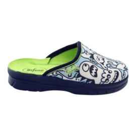 Befado kinderschoenen slippers om in te kleuren wit marine blauw