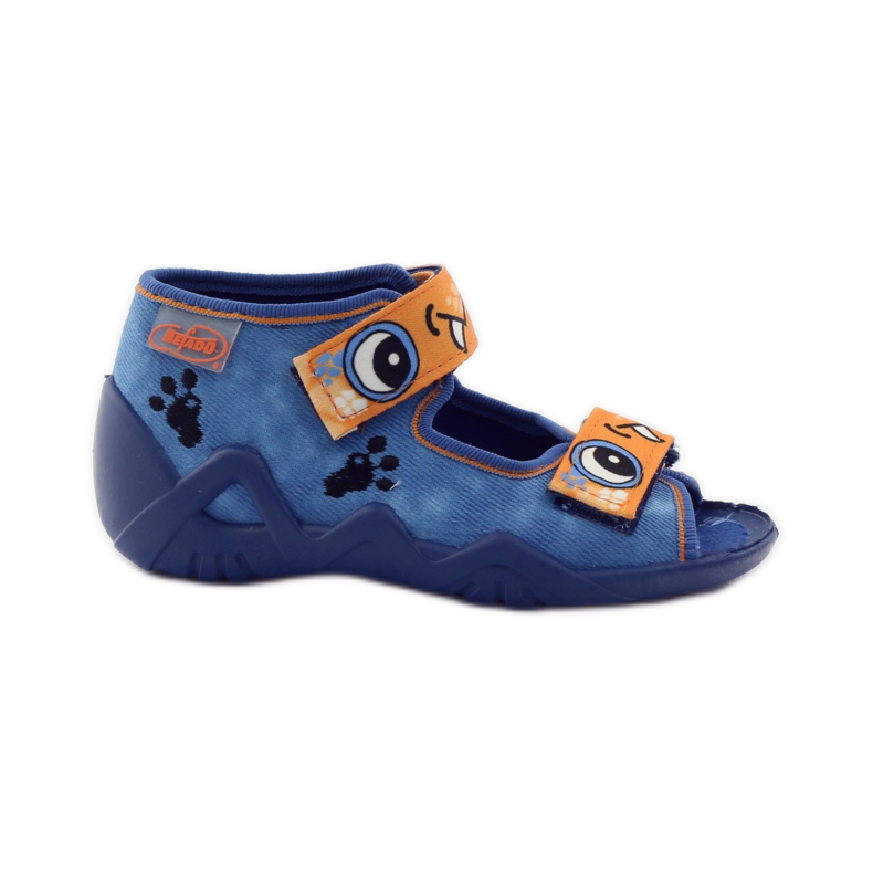 Blauwe slippers met klittenband Befado 250p065 oranje