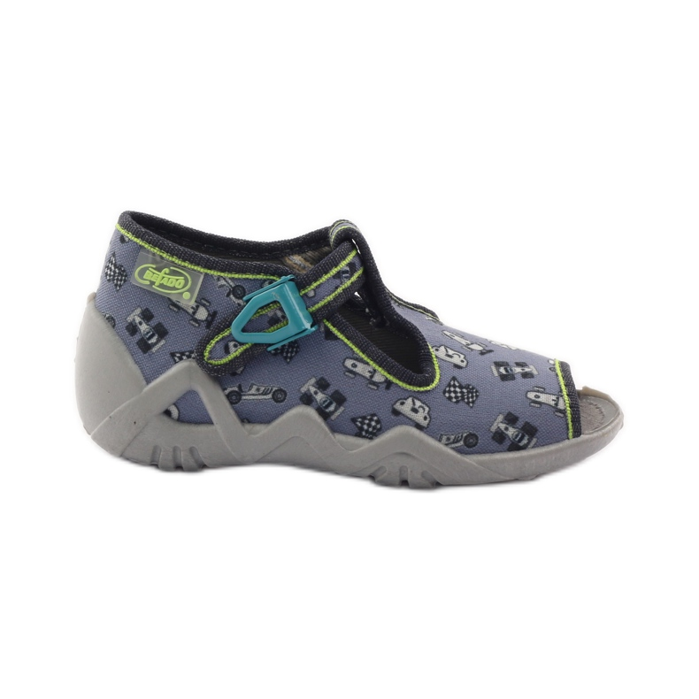 Slippers speeders Befado 217p092 groen grijs zwart wit