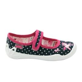 Befado kinderschoenen ballerina pantoffels 114x253 marine roze wit