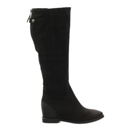 Laarzen met decoratieve Edeo 3138 ritssluiting zwart