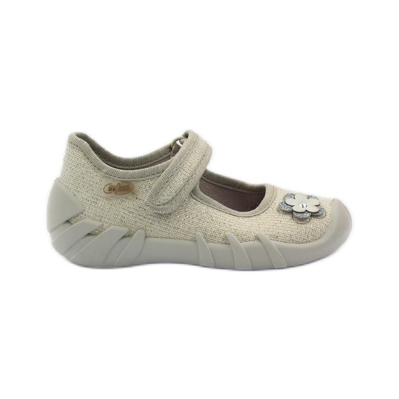 Befado kinderschoenen ballerina slippers 109p163 bruin grijs geel