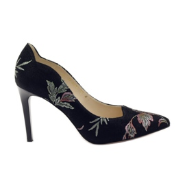 Anis Pumps On High Heel Embroidery 4566 zwart