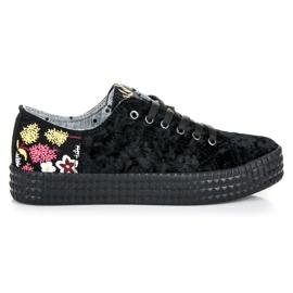 Kylie Fluwelen zwarte sneakers