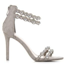 Vinceza Grijze sandalen met ornamenten grijs