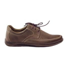 Bruin Riko herenschoenen met geperforeerde schoenen 848