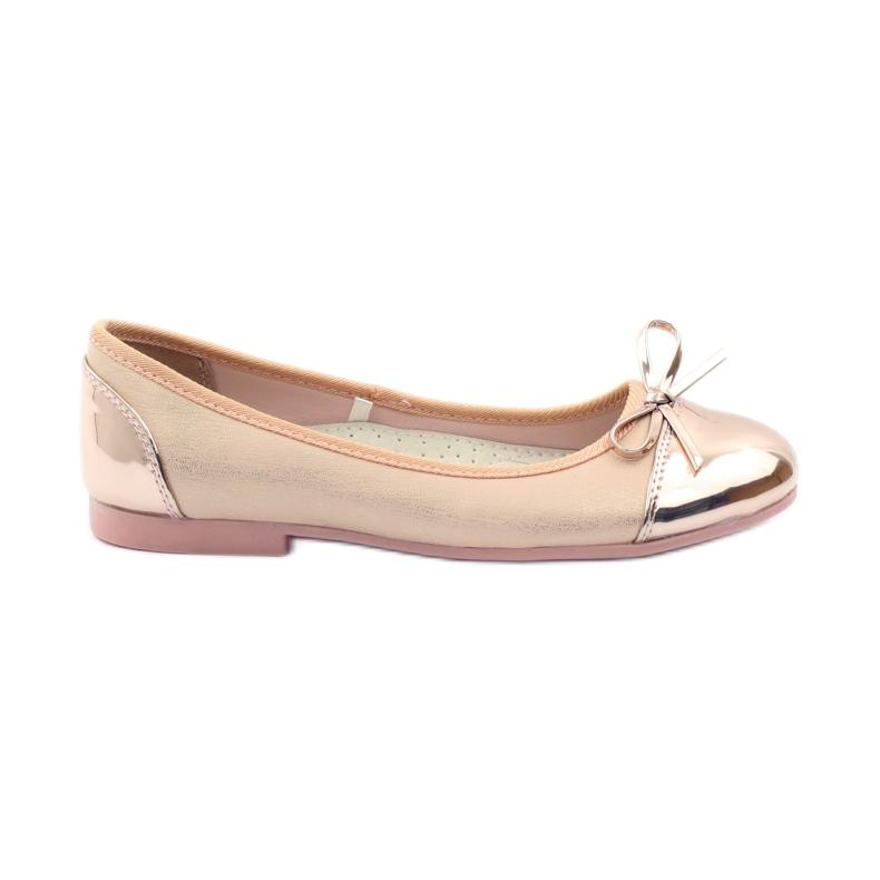American Club Ballerina's schoenen met een Amerikaanse strik roze geel wit
