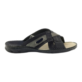 Naszbut Leren pantoffels 055 marineblauw