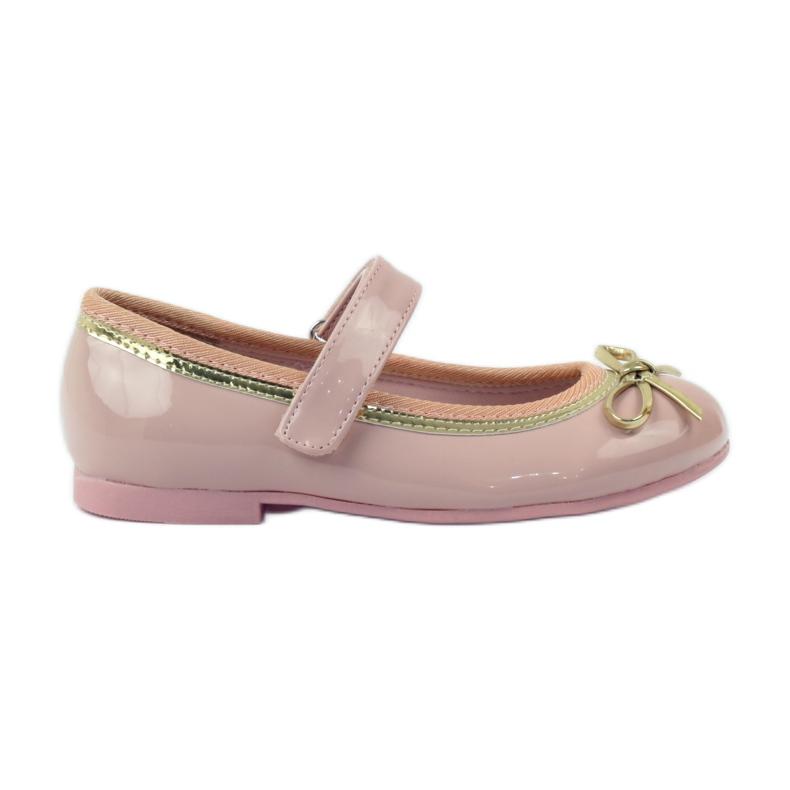American Club Ballerina's schoenen met een Amerikaanse strik roze