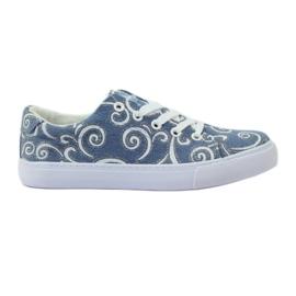 American Club Denim sneakers met Amerikaanse brokaat blauw