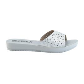 Opengewerkte INBLU BM30-slippers grijs