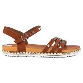 Anesia Paris bruin Rock platte sandalen