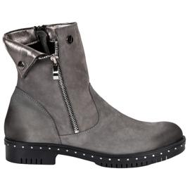 Grijze leren laarzen van VINCEZA grijs
