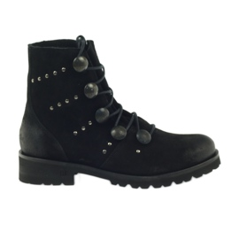 Zwart Laarzen versierd met Badura-knoppen en jets