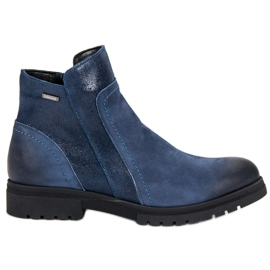 Comfortabele leren laarzen VINCEZA blauw