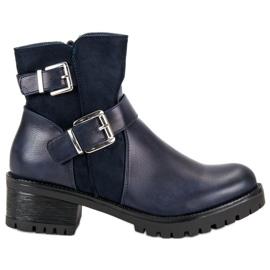 Ideal Shoes blauw Marinelaarzen op het platform