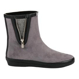 Kylie Suede Wellington laarzen met decoratieve rits grijs
