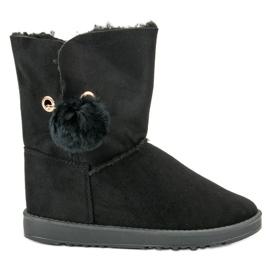 Zwart Mukluki Met een jas van schapenvacht