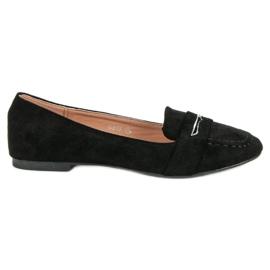 Small Swan Suede Loafers met Brocade zwart