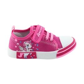 American Club roze Amerikaanse sneakers kinderschoenen met velcro inlegleer