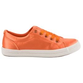Kylie Satijnen sneakers oranje