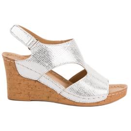 Filippo Zilveren sleehak sandalen grijs
