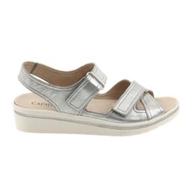 Grijs Caprice sandalen dames leren schoenen zilver