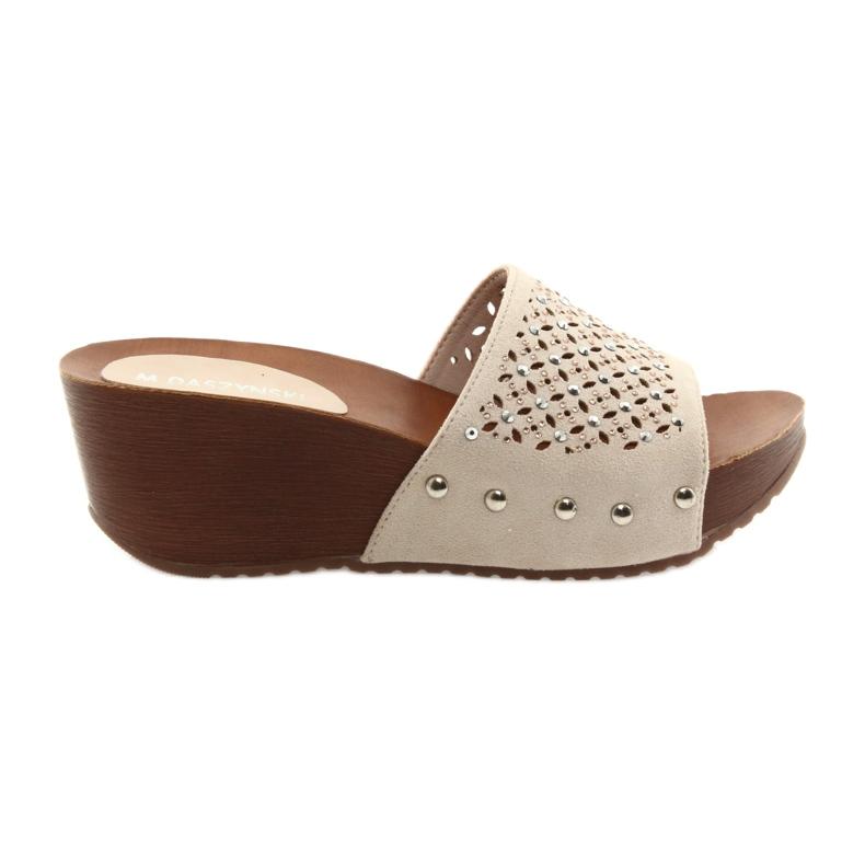 Daszyński SA144-6 beige sleehak pantoffels met zirkonia