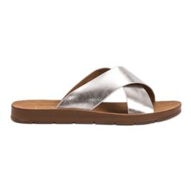 Filippo grijs Zilveren slippers met patroon