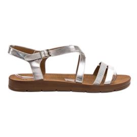Filippo grijs Zilveren sandalen met kristallen