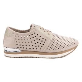 Aclys bruin Opengewerkte, beige schoenen