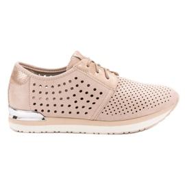 Aclys bruin Opengewerkte roze schoenen