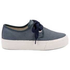 Kylie Sneakers gebonden met een lint blauw