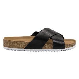 Kylie Comfortabele zwarte slippers