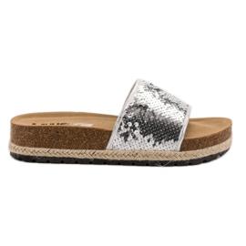 Kylie Zilveren slippers met pailletten grijs